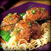 Asian Veal Meatballs with Noodles.