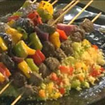 Bison & Vegetable Kebobs with Couscous.