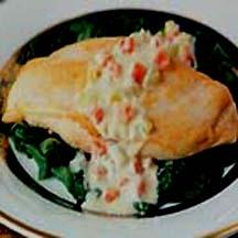 Chicken with Spinach and Apple Brandy Cream Sauce.