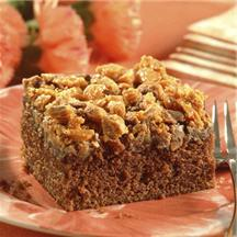 Crumble-Topped Chocoate Peanut Butter Cake.