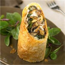 Duck, Wild Mushroom and Fontina Cheese Strudel.