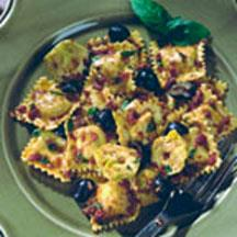 Four Cheese Ravioli with Artichoke Hearts, Olives and Pesto.