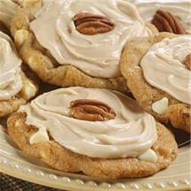 Frosted Maple Pecan White Chip Cookies.