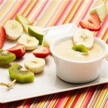 Fruit Kabobs with Creamy White Chocolate Sauce.