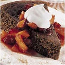 Gingerbread with Warm Cranberry Compote.