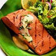 Grilled Alaska Salmon with Basil and Hollandaise.