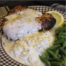 Grilled Lemon TarragonChickenwith Browned Butter Yogurt Sauce recipe