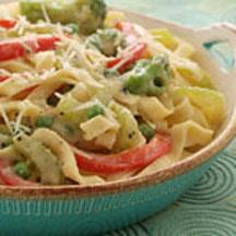 Italian Vegetable Creamy Fettuccine.