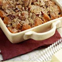 Maple-Glazed Yams with Butter Pecan Topping.