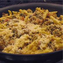 Penne with Sausage Cream Sauce.