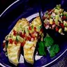 Pineapple-Mango Salsa over Grilled Halibut.
