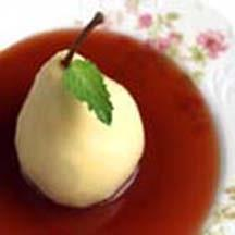 Poached Pears in Balsamic-Red Currant Sauce.