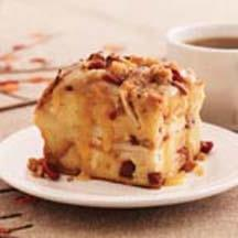 Praline Topped Apple Cranberry Bread Pudding.