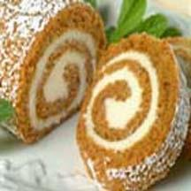 Pumpkin Cake Roll with Cream Cheese Filling.