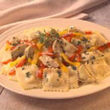 Ravioli with Alfredo Sauce and Artichokes.