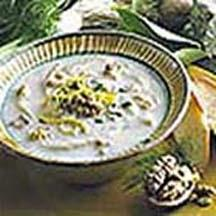Roasted Fennel Soup with Walnuts and Stilton.