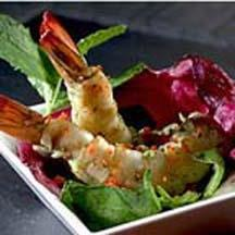Shrimp Mojito Tapas with Honey Red Pepper Mint Dressing Saladette.