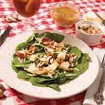 Spinach Salad with Smokey Peanuts and Tangy Honey Mustard Dressing.