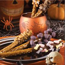 Spook-tacular Chocolate-Dipped Pretzels.