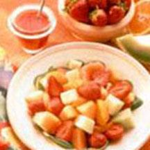 Strawberry Fruit Salad with Three Dressings.