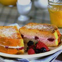 Stuffed French Toast with Fresh Berry Topping.