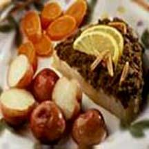 Swordfish with Spicy Almond Crust.