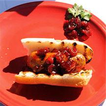 Touchdown Sausages with Chunky Cranberry-Beer Topping.