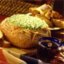 Warm Spinach Dip Bread Bowl.