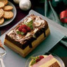 Yuletide Layered Mousse with Eggnog Sauce.