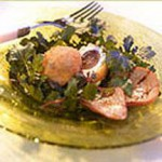 Arugula Salad with Gorgonzola Red Grape Fritters and Grilled Pear Conserve recipe
