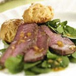 Baby Arugula Salad with Grilled Beef Sirloin and Gruyere-Gougere recipe