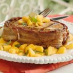 Bacon-Wrapped Pork with Spicy Mango-Basil Relish recipe
