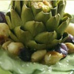 Braised Stuffed Artichokes with Sweet Garlic and Pearl Onions recipe