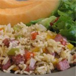Cajun-Style Smoked Sausage & Peppers Confetti Rice recipe
