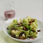 Cranberry-Dressed Mixed Greens with Apples & Glazed Pecans recipe