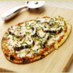 Flatbread Pizzas with Romesco Sauce, Portobello Mushrooms, Mozzarella and Smoked Gouda recipe