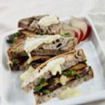 Fonduta with Duck Prosciutto, Pear and Olive Panini recipe