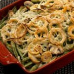 Green Bean and Gruyere Casserole with Spicy Onion Rings recipe