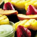Grilled Fruit Kabobs with Tropical Yogurt Sauce recipe