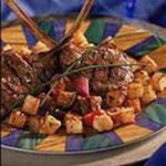 Grilled Marinated Lamb Chops with Crispy Potato Croutons recipe
