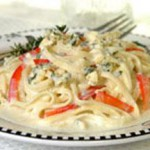 Linguine with Onion, Red Peppers and Gorgonzola recipe