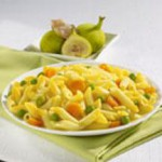 Mini Penne with Carrot Puree and Peas recipe