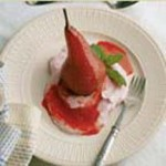 Pears Poached in Zinfandel with Ganache and Raspberry Mascarpone recipe