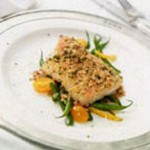 Pepato-Crusted Black Cod Loin with Warm Salad of Garden Vegetables recipe