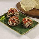 Pesto Jack Stuffed Mushrooms with Tomato Concass recipe