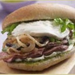 Roasted Lamb Sandwich with Mint Pesto and Burrata Cheese recipe