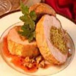 Roasted Pork Tenderloin with Walnut Curry Stuffing and Red Currant Glaze recipe