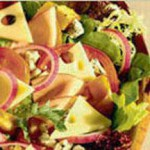 Seasonal Salad with Baby Swiss and Blue Cheese, Ham and Bagel Croutons recipe