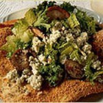 Shiitake Mushroom Salad with Blue Cheese Served on Asiago Lavosh Plate recipe