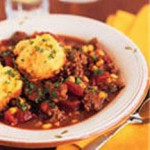 Skillet Chili Beef with Corn Biscuits recipe
